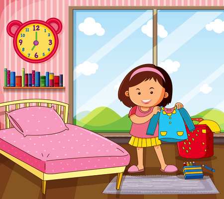 Little girl getting dress in bedroom illustration