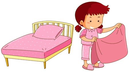 Little girl making bed illustration 일러스트