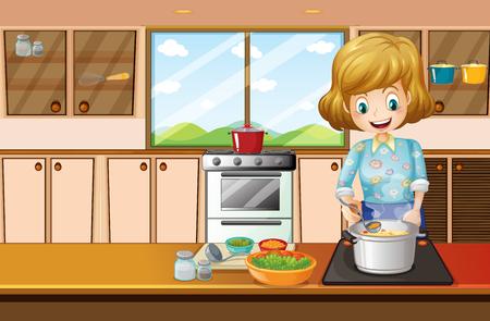 부엌 그림에서 요리하는 여자 일러스트