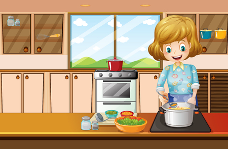 Woman cooking in kitchen illustration Иллюстрация