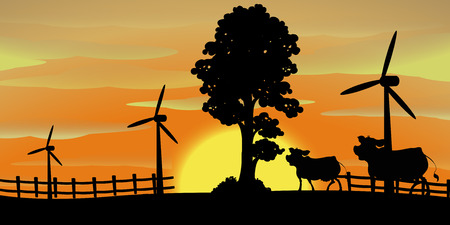 A Background scene with cows on the farm illustration Illustration