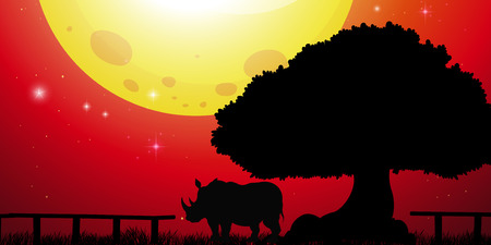 Silhouette rhino in the park illustration