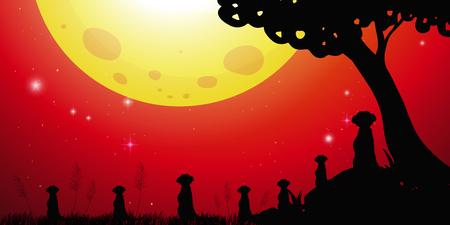 Silhouetscène met meerkats en rode hemelillustratie Vector Illustratie