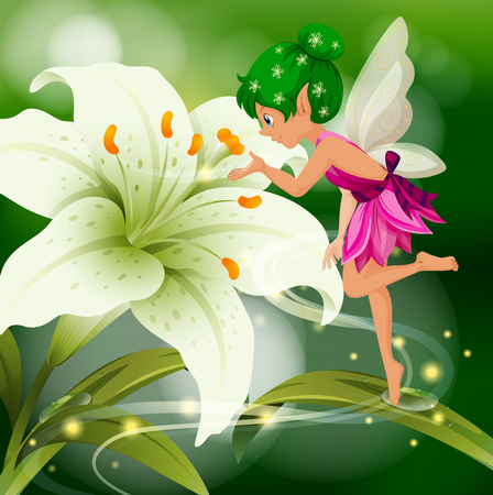 Cute fairy flying around white lily illustration 일러스트
