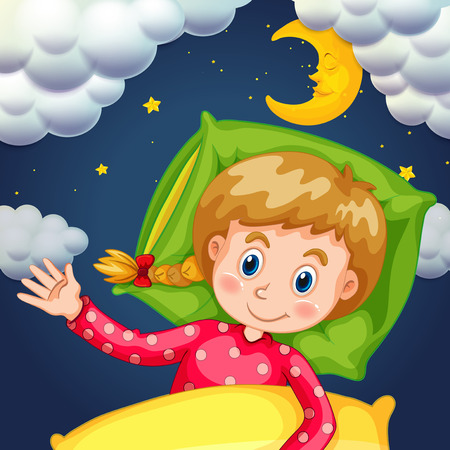 Girl sleeping at night time illustration