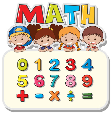Math worksheet with kids and numbers illustration Illustration