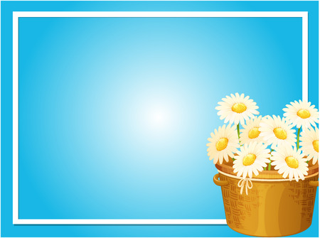 Border template with white flowers in basket illustration