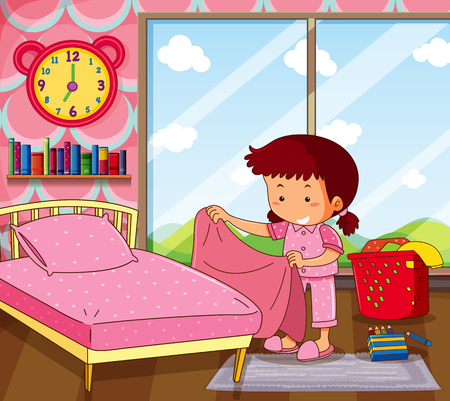 Girl making bed in pink bedroom illustration  イラスト・ベクター素材