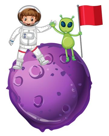 Astronaut and alien on purple planet illustration Illustration
