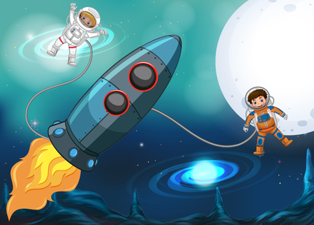 Spaceship and astronauts flying in space illustration