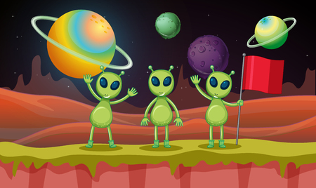 Three aliens in the space illustration