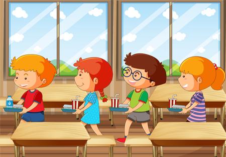 Czworo dzieci z tacą z jedzeniem w ilustracji stołówki