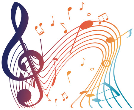Colorful musical notes on white background illustration