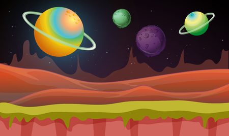 Background scene with many planets in galaxy illustration Illustration