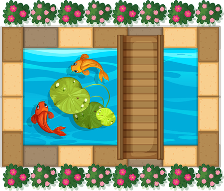 Pond scene with fish and waterlily illustration Illustration