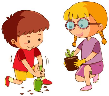 Boy and girl planting tree illustration Иллюстрация