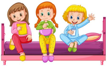 Three girls sitting on bed illustration
