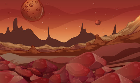 Background scene with red planet illustration