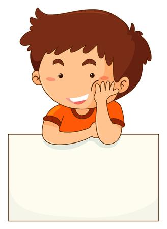 Little boy and blank paper illustration Illustration