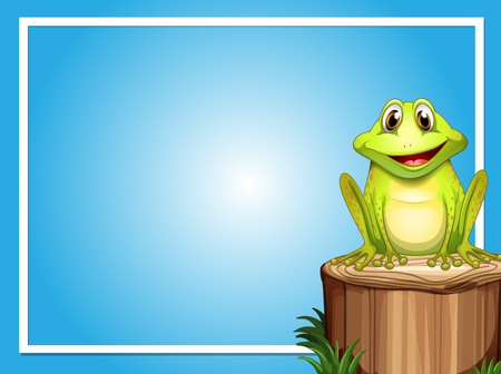 Frame template with happy frog on the log illustration Çizim