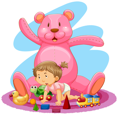 Little girl with pink bear and toys illustration