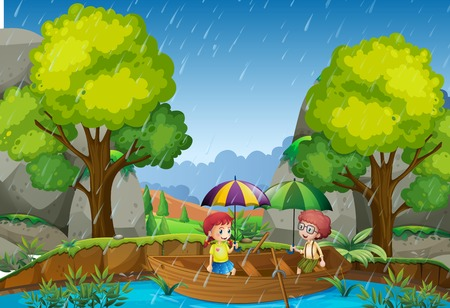 Rainy day with girl and boy in the park illustration