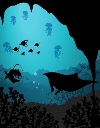 Silhouette scene with sea creatures underwater illustration Illustration
