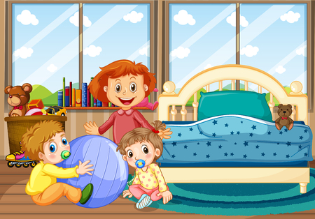 Three children in bedroom with blue bed illustration