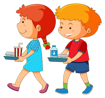 Boy and girl holding tray of food illustration Illustration