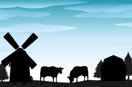 Silhouette scene with cows and barns illustration