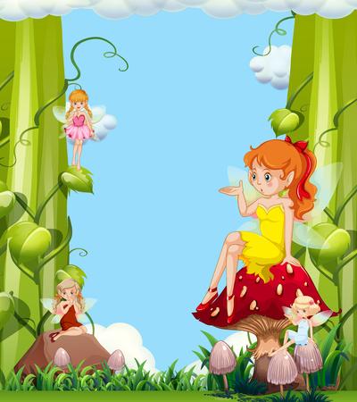 Cute fairies in mushroom garden illustration Illustration
