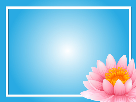 Frame template with pink lotus illustration