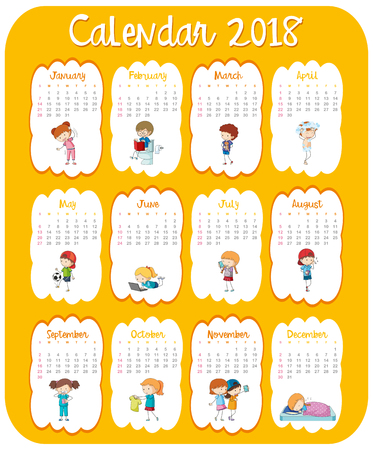Calendar template for 2018 with kids illustration