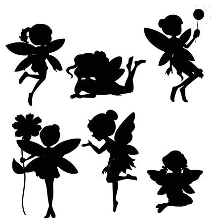 妖精シルエットイラストのセット  イラスト・ベクター素材