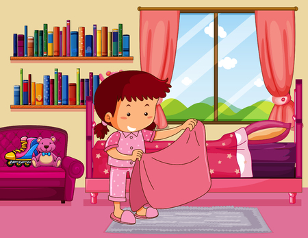 Girl making bed in bedroom illustration Illustration