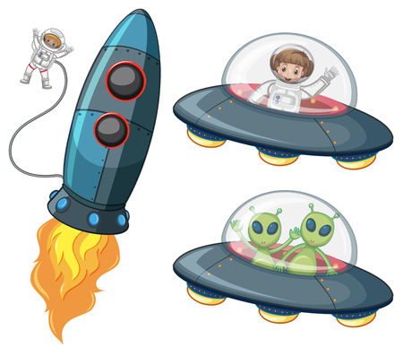 Astronaut and aliens in spaceships illustration