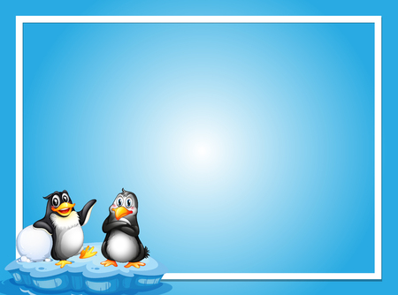 Border template with two penguins on ice illustration Stok Fotoğraf - 95881964