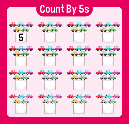 Math worksheet four counting by five with cars illustration