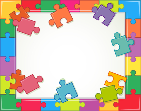 Frame template with puzzle pieces illustration