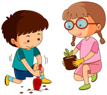 Boy and girl planting in garden illustration Illusztráció