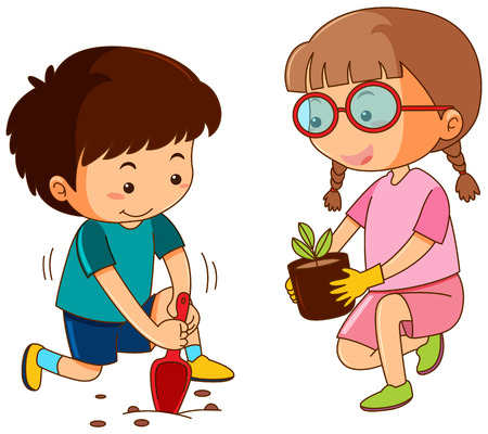 Boy and girl planting in garden illustration Illustration