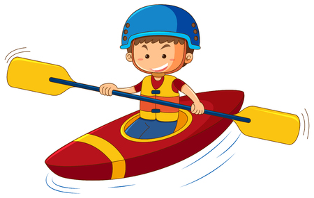 Boy wearing life jacket and helmet in canoe illustration