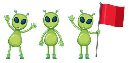 Three green aliens with red flag illustration