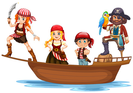 Pirate and crew on wooden ship illustration