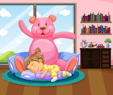 Little girl sleeping with pink teddybear illustration Illustration