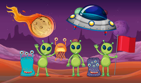 Space theme with aliens and UFO on planet illustration 向量圖像