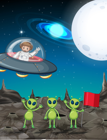 Space theme with astronaut and three aliens illustration.