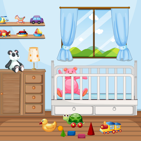 Bedroom scene with babycot and many toys illustration Illusztráció
