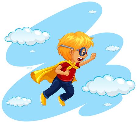 Boy in hero costume flying in sky illustration Illustration