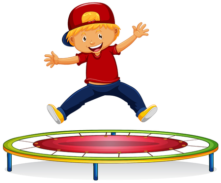 Happy boy jumping on trampoline illustration